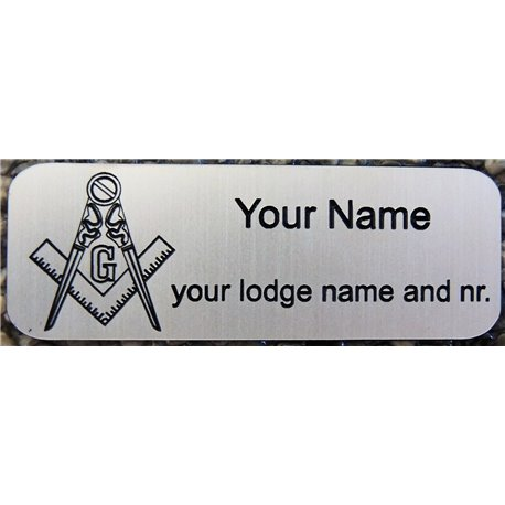 Engraved name plate silver with magnetclip
