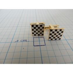 Manchetknopen dambordmotief vierkant