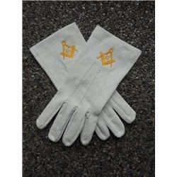 Witte katoenen handschoenen P&W goud G