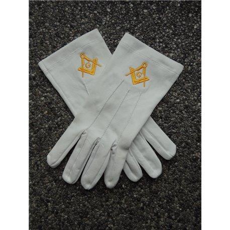 Gants de cotton blanc E&C G en or