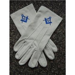 Gants de cotton blanc E&C G bleu royal