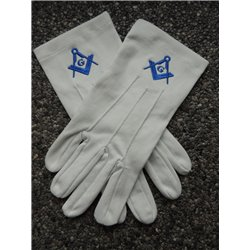 Witte katoenen handschoenen P&W kongingsblauw G