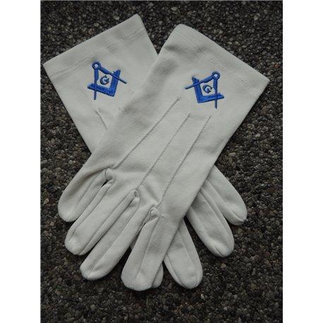 White cotton gloves S&C Royal blue G