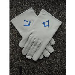 Weisse lederhandschuhe Q&K Köninglich blau
