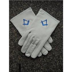 Witte lederen handschoenen P&W koningsblauw