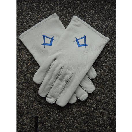 White leather gloves S&C royal blue